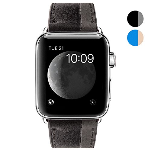 BRG for Apple Watch Band 38mm, Classic Genuine Leather 2 Tone Style iWatch Band with Stainless Metal Buckle Replacement Strap for Apple Watch Series 3/2/1 Hermès Nike+ Sport Edition, Black/Gray (Metal Tone Two)