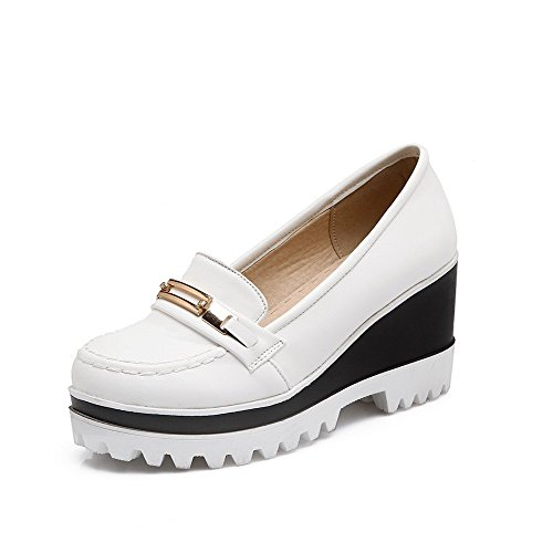 AllhqFashion Womens PU Solid Pull-On Round Closed Toe High-Heels Pumps-Shoes White iyGmMQ