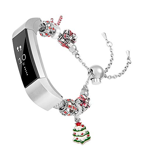 Wearlizer Compatible Fitbit Alta and Alta hr Bands for Women Fit bit Bracelet with Christmas Santa and Christmas Tree Metal Replacement Wrist Band Accessories for Fit Alta Straps Bangle