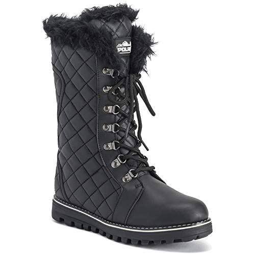 (Polar Womens Quilted Comfy Winter Side Zip Rain Warm Snow Knee High Boot - Black/Black - US8/EU39 - YC0500)