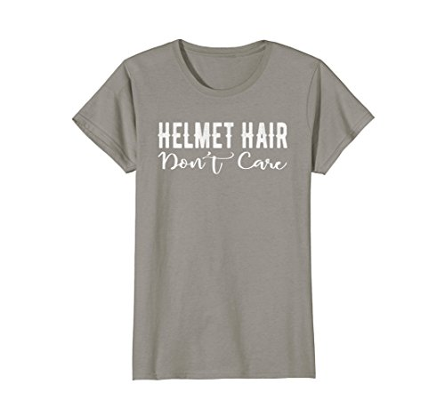 Womens Helmet Hair Don't Care Motorcycle Bike Cycle Riding T-shirt Medium Slate
