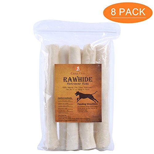 KOOLTAIL Rawhide Chews 100% Natural Retriever Rolls for Medium and Large Dogs 8 Pack (Natural Retriever Roll)