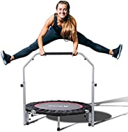 """BCAN 40"""" Foldable Mini Trampoline, Fitness Rebounder with Adjustable Foam Handle, Exercise Trampoline for"""