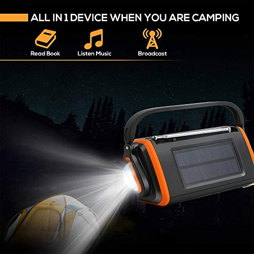 EJEAS Emergency Weather Solar Crank AM/FM NOAA Radio with SOS Alarm Portable 4000mAh Power Bank, Bright Flashlight, Reading Lamp and AUX Music Player for Household Emergency and Outdoor Survival by EJEAS (Image #3)