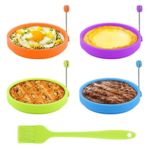 Egg Ring, TGJOR Egg Cooking Rings, Round Pancake Mold BPA Free & FDA Approved, Non Stick Silicone Ring for Eggs, 4 Pack Reusable Fried Egg Mold with an Oil Brush (Multicolor)