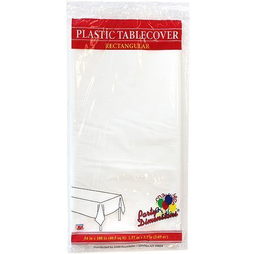 Plastic Party Tablecloths - Disposable, Rectangular Tablecovers - 4 Pack - White - By Party (Rectangular Plastic Tablecloths)