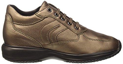 Happy Sneakers Femme C Hautes Geox leadc9003 Braun RHwpg1q