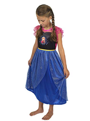 Disney Frozen Elsa Anna Girls Fantasy Gown Nightgown (10, Blue/Pink)