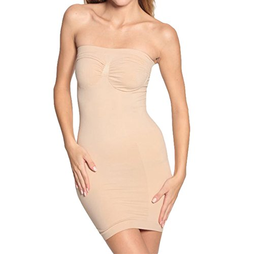 Shymay Women's Full Body Slip Shaper Seamless Slimming Tube Shapewear Dress, Nude, Tag size L=US size (Nude Strapless Slip)