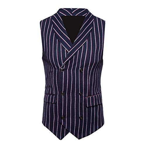 (TANGSen Fashion Men's Autumn Winter Sleeveless Plus Size Striped Suit Vest Double-Breasted Casual Jacket Blouse Navy)
