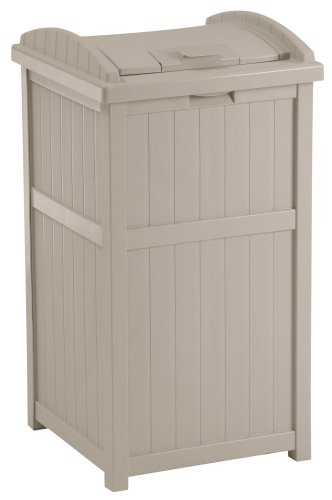 - Suncast 33 Gallon Outdoor Trash Can for Patio - Resin Outdoor Trash Hideaway with Lid - Use in Backyard, Deck, or Patio - Taupe