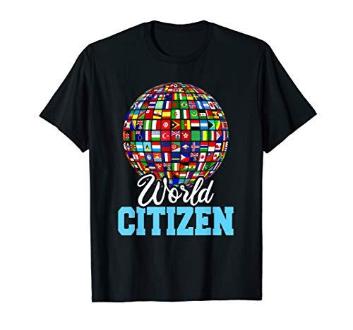 - World Citizen Round World Country Flags T-Shirt