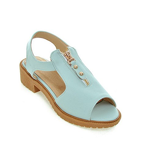 AllhqFashion Women's Solid PU Low-heels Peep Toe Zipper Sandals, Blue, 34 by AllhqFashion