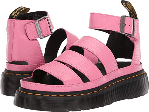 (Dr. Martens Women's Clarissa II Quad Aunt Sally Leather Buckle Sandal Soft Pink-Pink-6)