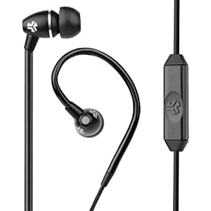 JLab Audio JBuds FIT Sport Earbuds, Sweatproof and Water Resistant with In-Wire Customizable Earhooks - Black