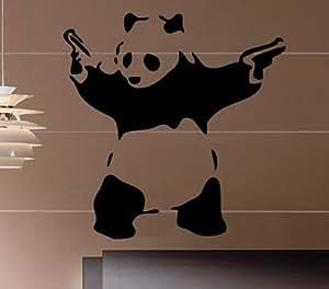 Banksy Gangster Panda Decal Wall Sticker 60cm x 60cm (RED)