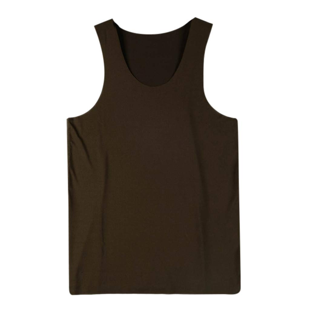 Gibobby Men Shirts,Summer Solid Slim-fit T-Shirts Comfortable Casual Undershirts Tank Tops Sleeveless Sports Tees Army Green