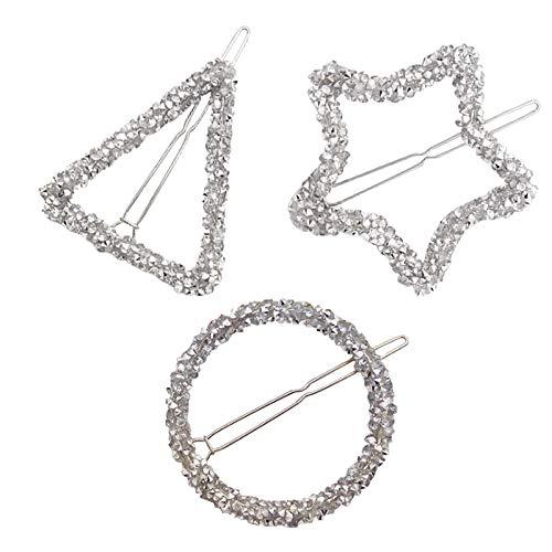 (3 Pcs/Pack Minimalist Dainty Rhinestone Hairpin Geometric Simple & Modern Style Hair Clips Mini Crystal Decor Alloy Hair Clamps (Silver))
