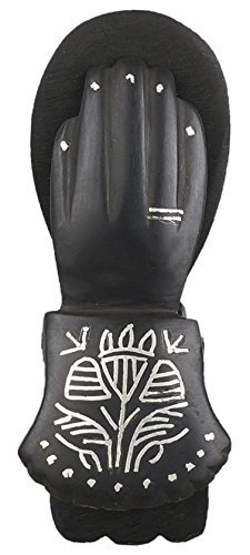H-Store Bidrihandicraft Black Hand Shaped Copper and Zinc Paper Holder Inlayed with Pure Silver Design - Hand Inlayed