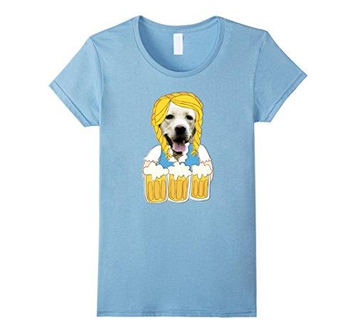 Womens Funny Oktoberfest T-Shirt Lab Dog in German Dirndl Costume XL Baby (Lab In Costume)