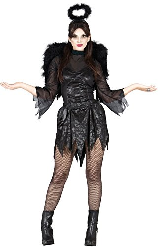 Ladies Angel of Death Dark Evil Black Demon Demonic Fairy Halloween Fancy Dress Costume Outfit (UK 12-14)]()