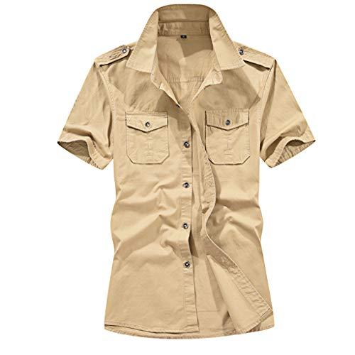 Sunhusing Men's Loose Casual Solid Color Pocket Military Style Turn-Down Neck Short-Sleeve Shirt Tee Khaki ()
