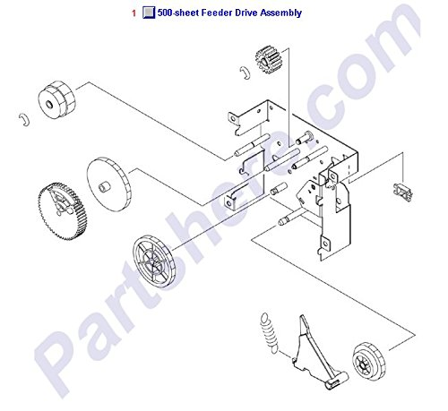 HP RM1-2909-000CN Feed drive assembly - Six gears mounted on a plate on right -
