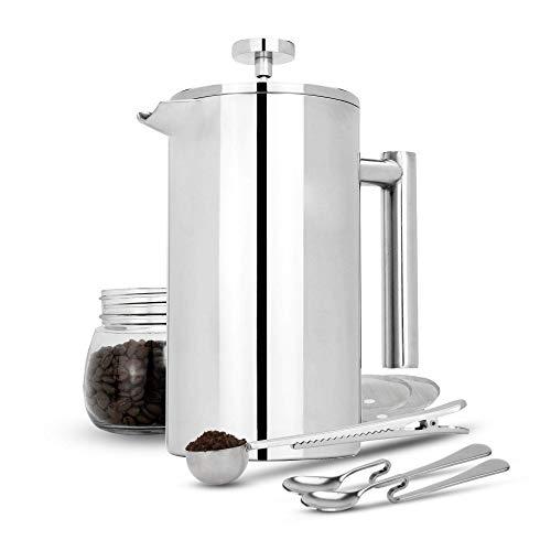 Maison & White 350ml Cafetería francesa de prensa | Prensa de café de acero inoxidable | GRATIS filtros adicionales…