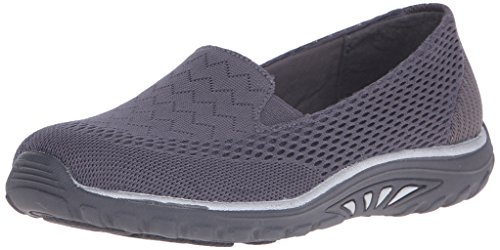 Willows Black Charcoal Mesh Fest Skechers Flat Women's Reggae p477xZ
