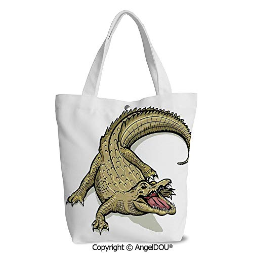 Women Canvas Tote Eco Reusable Bag Casual Bags Illustration of Exotic Wild Croco