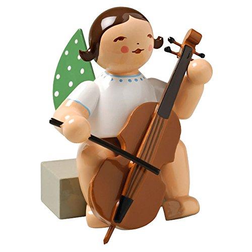 Wendt & Kuhn Brunette Hand Painted Grunhainichen Angel Cello Figurine Sitting
