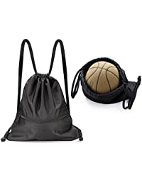 Large Drawstring Bag Water Resistant Gym Sackpack with Pockets 5 Colors for Choice
