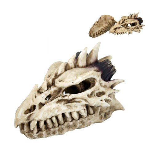 - Fossil Skull Smoke Fire Breath Spiked Dragon Incense Holder Burner Figurine Box