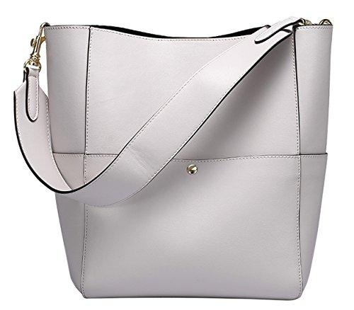 SAIERLONG Nueva Mujer Blanco Zurriago Del Cuero Genuino Shoppers y bolsos de hombro Blanco