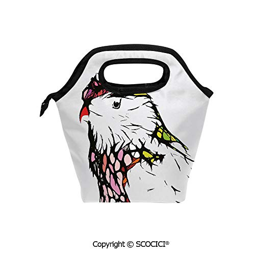 Picnic Food Insulated Cooler Tote Lunch Bag Chicken Bird Portrait Sketch with Colorful Details Caricature Pet Zoo Image Decorative Organizer Lunchbox for Women Men Kids.]()
