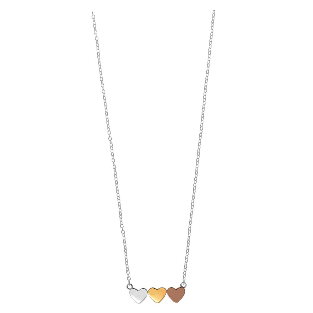 f9cb28c4bfe23 Amazon.com  Boma Jewelry Sterling Silver Tri-Toned Gold 14kt. Gold   18kt.  Rose Gold Washed Heart Necklace