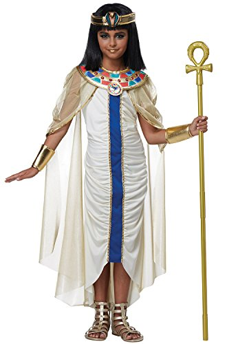 California Costumes Ancient Egyptian, Cleopatra, Pharaoh Nile Princess Girls Costume, Cream/Blue, (Egyptian Dress For Girls)