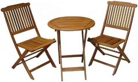 Balcón-Set mesa 2 sillas de jardín de madera eucalipto FSC, barnizado: Amazon.es: Hogar
