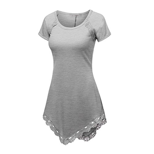 XUANOU Women Summer Casual Blouse Plus Size Short Sleeve Lace Stitching T-Shirt (XX-large, Gray) Lights And Lace Tee