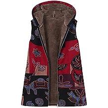 Mikey Store Plus Size Women Hooded Sleeveless Cotton Linen Fluffy Fur Zipper VES Coat