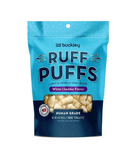 (Buckley Ruff Puffs Flavored Dog Training Treats, White Cheddar, 4 Ounce)