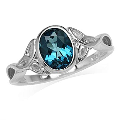 Silvershake 1.46ct. 8X6mm Genuine Oval Shape London Blue Topaz 925 Sterling Silver Triquetra Celtic Knot Ring