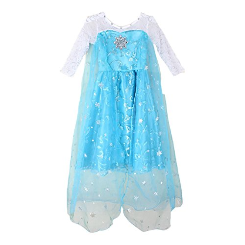 [FE11 Disney Frozen Inspired Lace Elsa Costume Dress Girl Cosplay Party 3T-12 (7/8-130cm)] (Disney Elsa Costumes Dress)