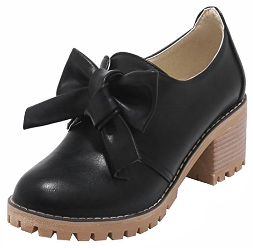 Mofri Women's Bowknot Pump - Sweet Low Top Round Toe - Slip on Stack Block Medium Heel Shoes (Black, 10 B(M) US) (Pumps Stack Heel Round Toe)