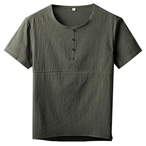 TOPUNDER Men's Summer Fashion Leisure Plus Size Short-Sleeved Loose Cotton Hemp T-Shirt Army Green