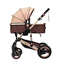 Beautylife88Baby Kids Pram Pushchair Foldable Stroller Trolley Buggy Gold