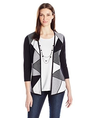 Alfred Dunner Women's Plus Size Block Checked Twofer Sweater, Multi, (Alfred Dunner Nylon Sweater)