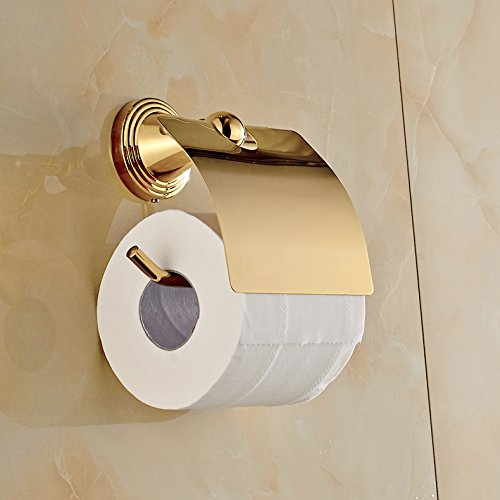 Rozin Luxury Gold Polished Roll Toilet Paper Holder Wall Mounted