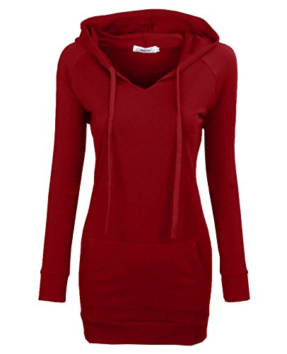 BEPEI Women Hoodies,Fall Stylish Knit Workout Running Sport Shirt Athleisure Top Spandex Pure Color Tunic Blouse Active Comfortable Sweatshirt Red 3XL