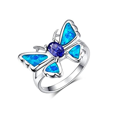 Canmiya Rhodium Plated Sterling Silver Synthetic Blue Opal CZ Butterfly Wedding Ring For Women